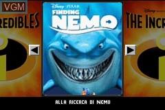 Title screen of the game 2 Games in 1 - Alla Ricerca di Nemo + Gli Incredibili - Una 'Normale' Famiglia di Supereroi on Nintendo GameBoy Advance