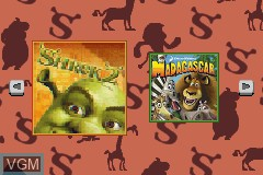 Title screen of the game 2-in-1 Fun Pack - Shrek 2 + Madagascar on Nintendo GameBoy Advance