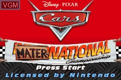 Title screen of the game Cars - Mater-National Championship on Nintendo GameBoy Advance