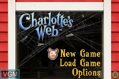 Title screen of the game Charlotte's Web on Nintendo GameBoy Advance