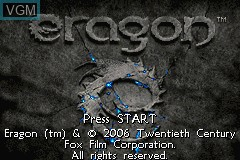 Title screen of the game Eragon on Nintendo GameBoy Advance