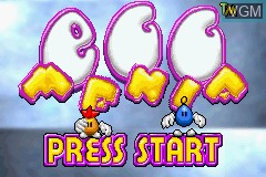 Title screen of the game Egg Mania on Nintendo GameBoy Advance