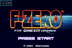 Title screen of the game F-Zero for Game Boy Advance on Nintendo GameBoy Advance