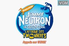 Title screen of the game Jimmy Neutron un Garcon Genial - L'Attaque des Twonkies on Nintendo GameBoy Advance
