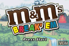 Title screen of the game M&M's - Break' Em on Nintendo GameBoy Advance