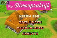 Title screen of the game Mijn Dierenpraktijk on Nintendo GameBoy Advance