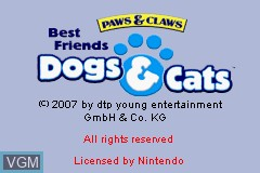 Title screen of the game Paws & Claws - Best Friends - Dogs & Cats on Nintendo GameBoy Advance