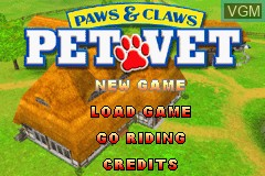 Title screen of the game Paws & Claws - Pet Vet on Nintendo GameBoy Advance
