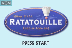 Title screen of the game Ratatouille on Nintendo GameBoy Advance