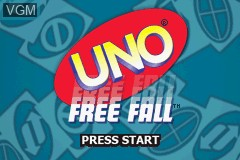 Title screen of the game Uno Free Fall on Nintendo GameBoy Advance