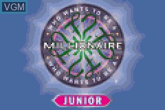 Title screen of the game Who Wants to Be a Millionaire Junior on Nintendo GameBoy Advance