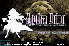 Title screen of the game Yggdra Union - We'll Never Fight Alone on Nintendo GameBoy Advance