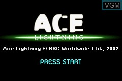 Title screen of the game Ace Lightning on Nintendo GameBoy Advance