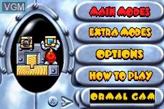 Menu screen of the game Egg Mania - Tsukande! Mawashite! Dossun Puzzle!! on Nintendo GameBoy Advance