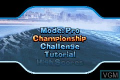 Menu screen of the game Kelly Slater's Pro Surfer on Nintendo GameBoy Advance