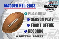 Menu screen of the game Madden NFL 2003 on Nintendo GameBoy Advance