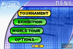 Menu screen of the game Virtua Tennis on Nintendo GameBoy Advance