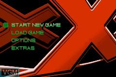 Menu screen of the game xXx on Nintendo GameBoy Advance