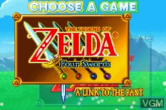 Menu screen of the game Legend of Zelda, The - A Link to the Past & Four Swords on Nintendo GameBoy Advance