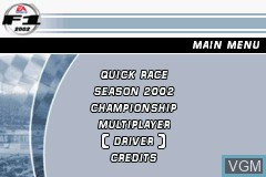 Menu screen of the game F1 2002 on Nintendo GameBoy Advance