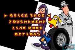 Menu screen of the game Inspector Gadget Racing on Nintendo GameBoy Advance