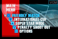 Menu screen of the game International Superstar Soccer Advance on Nintendo GameBoy Advance