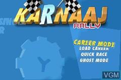 Menu screen of the game Karnaaj Rally on Nintendo GameBoy Advance