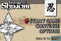 Menu screen of the game Revenge of Shinobi, The on Nintendo GameBoy Advance