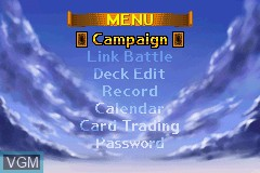 Menu screen of the game Yu-Gi-Oh! - The Eternal Duelist Soul on Nintendo GameBoy Advance