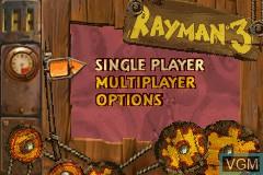 Menu screen of the game Rayman 3 - Hoodlum Havoc on Nintendo GameBoy Advance
