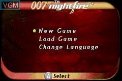 Menu screen of the game 007 - NightFire on Nintendo GameBoy Advance