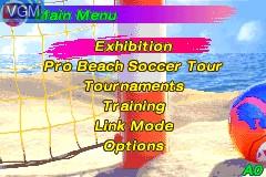 Menu screen of the game Pro Beach Soccer on Nintendo GameBoy Advance