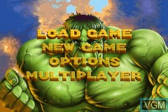 Menu screen of the game Incredible Hulk, The on Nintendo GameBoy Advance