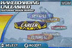 Menu screen of the game Wakeboarding Unleashed Featuring Shaun Murray on Nintendo GameBoy Advance