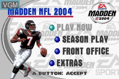 Menu screen of the game Madden NFL 2004 on Nintendo GameBoy Advance