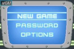 Menu screen of the game Adventures of Jimmy Neutron Boy Genius, The - Jet Fusion on Nintendo GameBoy Advance