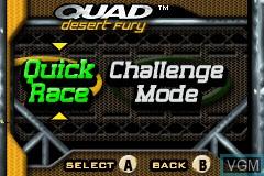 Menu screen of the game Quad Desert Fury on Nintendo GameBoy Advance