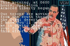 Menu screen of the game Operation Armored Liberty on Nintendo GameBoy Advance