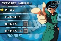 Menu screen of the game Yu Yu Hakusho - Ghostfiles - Spirit Detective on Nintendo GameBoy Advance