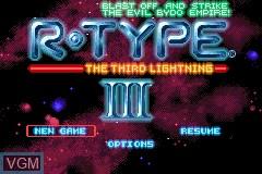 Menu screen of the game R-Type III - The Third Lightning on Nintendo GameBoy Advance