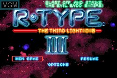 Menu screen of the game R-Type III on Nintendo GameBoy Advance