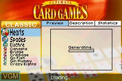 Menu screen of the game Ultimate Card Games on Nintendo GameBoy Advance