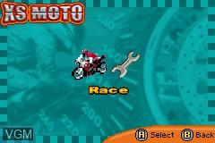 Menu screen of the game XS Moto on Nintendo GameBoy Advance
