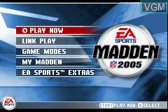 Menu screen of the game Madden NFL 2005 on Nintendo GameBoy Advance