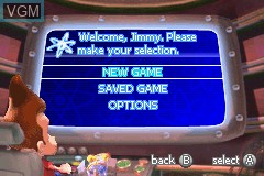Menu screen of the game Adventures of Jimmy Neutron Boy Genius, The - Attack of the Twonkies on Nintendo GameBoy Advance
