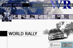 Menu screen of the game GT Advance 2 - Rally Racing on Nintendo GameBoy Advance