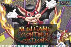 Menu screen of the game Aero the Acro-Bat - Rascal Rival Revenge on Nintendo GameBoy Advance