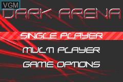 Menu screen of the game Dark Arena on Nintendo GameBoy Advance