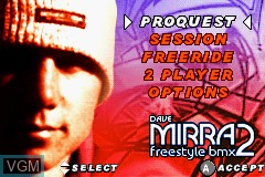 Menu screen of the game Dave Mirra Freestyle BMX 2 on Nintendo GameBoy Advance