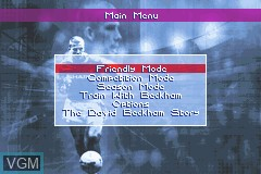 Menu screen of the game David Beckham Soccer on Nintendo GameBoy Advance